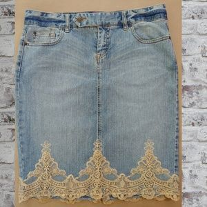 The Limited Jeans Skirt with Lace trim, size 10